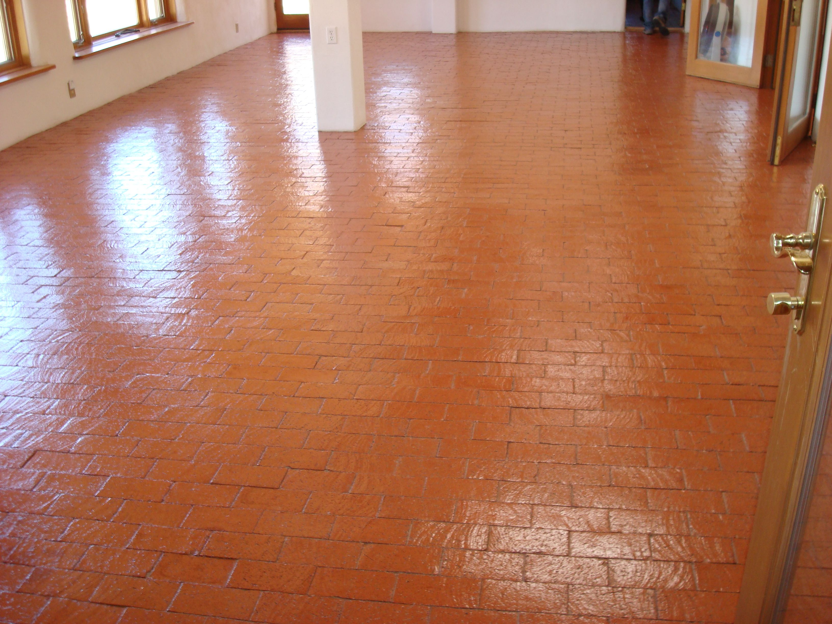 Shiny Cleaned And Sealed Brick Floors Mofab